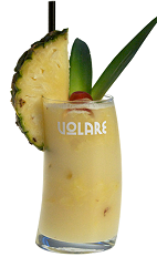 Nothing says summer is here better than the classic Pina Colada drink. This variation is creamy yellow colored cocktail made from Volare Coconut liqueur, white rum, pineapple juice and coconut cream, and served over ice in a highball glass garnished with pineapple, maraschino cherry and pineapple leaves.