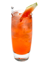 The Watermelon Cape Codder drink is made from Smirnoff Watermelon vodka, cranberry juice and watermelon, and served over ice in a highball glass.