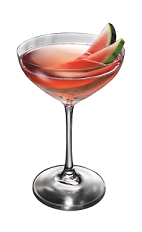 The Watermelon Slice cocktail is made from Smirnoff Watermelon vodka, lime juice, cranberry juice, mint and simple syrup, and served in a chilled cocktail glass.