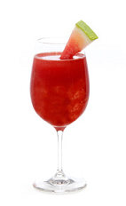 The Watermelon Wave is a red colored punch recipe made from Gran Gala Triple Orange liqueur, Corazon silver tequila, maraschino liqueur, watermelon juice, pomegranate juice and lemon juice, and served from a pitcher in glasses garnished with watermelon wedges. Recipe serves 6.