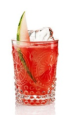 The Watermelon Gin is a red drink made fron gin, lemon juice, simple syrup, club soda and watermelon pieces, and served over ice in a highball glass.