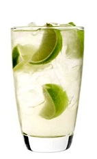 The White Cloud drink recipe is made from 42 Below Kiwi vodka, white cranberry juice and lime, and served over ice in a highball glass.