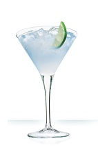 The White Cosmopolitan cocktail is a clear colored drink made from vodka, Cointreau orange liqueur, white cranberry juice and lemon juice, and served in a chilled cocktail glass.
