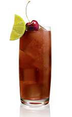 The Wild Cherri Cola drink is made from Stoli Wild Cherri vodka and Coca-Cola, and served in a highball glass.