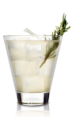 The Wild Mustang cocktail is made from American Honey honey whiskey, grapefruit juice, bitters and rosemary, and served over ice in a rocks glass.