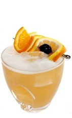 The Windtalker drink recipe is made from bourbon, Luxardo amaretto, King's ginger liqueur, lemon juice and egg white, and served over ice in a rocks glass garnished with orange and lemon slices.