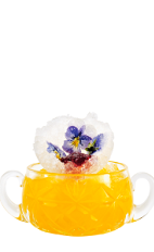 The Xellent Flower Cup drink recipe is made from Xellent gin, mango puree, orange juice, lemon juice, grapefruit juice and jasmine syrup, and served over ice in a small glass.