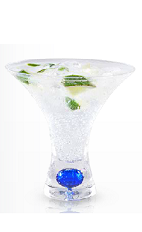 The Yeyo Spritzer is a clear colored cocktail made from Yeyo silver tequila, simple syrup and lime, and served in a chilled cocktail glass.