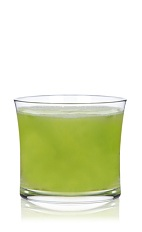 The Younger Spice is a green drink made from Patron tequila, lime juice, simple syrup, jalapeno pepper and green chartreuse, and served in a rocks glass.