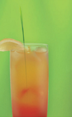The Zu Runner drink recipe is a fruity orange colored cocktail made from Zubrowka Bison Grass vodka, blackberry brandy, banana liqueur, orange juice, pineapple juice, grenadine and club soda, and served over ice in a Collins glass.