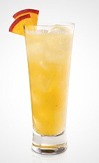 The Plush Peach is an orange colored drink recipe made from Seagram's Peach Twisted gin, peach schnapps and orange juice, and served over ice in a peach-garnished highball glass.