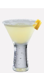 The Lemon Bar is a refreshing dessert cocktail made from Burnett's sugar cookie vodka, lemonade and lemon-lime soda, and served in a chilled cocktail glass.