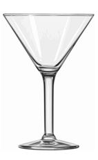 The Black and White Martini cocktail is made from vanilla vodka, dark crème de cacao, Pernod absinth and licorice for garnish, and served in a chilled cocktail glass.