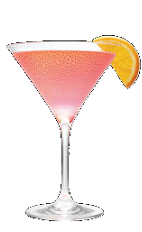 The Orange Cosmo cocktail recipe is made from Three Olives orange vodka, Chambord raspberry liqueur, cranberry juice and lime juice, and served in a chilled cocktail glass.