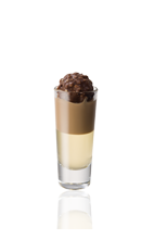 The African Delight is a brown and cream colored shot made from Amarula cream liqueur and Frangelico hazelnut liqueur, and served layered in a chilled shot glass.