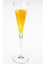 The Amaretto Mimosa is an orange colored drink made from Disaronno liqueur, orange juice and prosecco, and served in a chilled champagne flute.