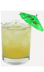 The Apple Hawaiian Fizz is a tropical drink recipe made from Burnett's sour apple vodka, sweet & sour mix, pineapple juice and lemon-lime soda, and served over ice in a rocks glass.