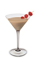 The Bailey's Raspberry Martini is a brown colored cocktail made from Bailey's Irish cream, Smirnoff raspberry vodka, Godiva chocolate liqueur and raspberries, and served in a chilled cocktail glass.