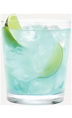 The Berry Blue Tonic drink recipe is a blue colored cocktail made from Burnett's blueberry vodka, blue curacao, tonic water and lime, and served over ice in a rocks glass.