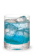 The Berry Fizz is a vibrant blue drink made from Pucker Berry Fusion schnapps, vodka and club soda, and served over ice in a rocks glass.