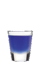 The Black and Blue shot recipe can nurse you back to health after a bruising day at the office. A blue colored drink made from Three Olives cherry vodka, raspberry liqueur and blue curacao, and served in a chilled shot glass.