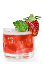 The Black Cherry Bouquet is a red colored drink made from Effen black cherry vodka, elderflower liqueur, strawberries and lime juice, and served over ice ina  rocks glass.