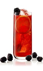 The Blackberryade Gin is a red cocktail made from gin, lemon juice, simple syrup, club soda and blackberries, and served over ice in a highball glass.