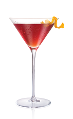 The Blood and Sand cocktail is made from Stoli Salted Karamel vodka, Scotch whiskey, cherry liqueur, sweet vermouth and orange juice, and served in a chilled cocktail glass.