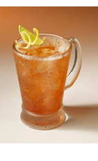 The Bloody Bullfighter is a manly variation of the classic Bloody Mary drink recipe. A red colored drink made from Clamato tomato cocktail, beer, Tabasco sauce, gin, lime and lemon, and served in a beer glass full of ice.
