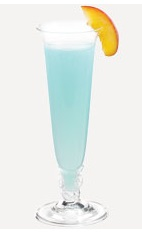The Blue Fizz is an exciting blue colored cocktail recipe perfect for New Year's eve, or any formal social event. Made from Burnett's blue raspberry vodka, peach schnapps and club soda, and served in a chilled champagne flute.