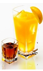 The Bocce Ball is an Italian version of the classic Screwdriver drink. Made from Disaronno and orange juice, and served in a unique combination of a shot glass and a highball glass.