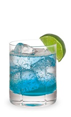 The Cactus Blue is a blue drink made from DeKuyper Cactus Juice, Pucker Island Punch schnapps, Sprite and lime, and served over ice in a rocks glass.