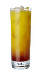 The Carillo Charmer is an orange colored drink recipe made from Carillo mild bitter liqueur and orange juice, and served over ice in a Collins glass.