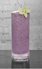 The Cedilla Batida is a purple colored frozen drink made from Cedilla acai liqueur, Leblon cachaca, blueberries, condensed milk and ice, and served blended in a chilled highball glass.