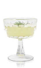 The Celedones is a yellow cocktail made from Patron tequila, cucumber, melon, lime juice, agave nectar and dill, and served in a chilled cocktail glass.