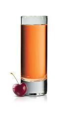 The Cherri Fizz Shot is made from Stoli Wild Cherri vodka, Coca-Cola and lime juice, and served in a chilled shot glass.