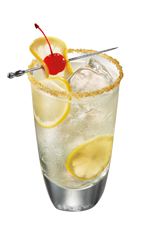 The Cherry Lemonade is a clear drink made from Smirnoff cherry vodka, lemonade, club soda and lemon, and served over ice in a highball glass.