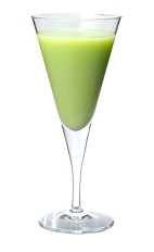 The Chiquita Punch cocktail is made from Midori melon liqueur, banana liqueur, pineapple juice and coconut cream, and served in a chilled cocktail glass.