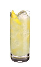The Citroen Fizz is a yellow colored drink made from Ketel One Citroen vodka, lemon juice, simple syrup and club soda, and served over ice in a highball glass.