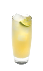 The Citrus Fizz is a yellow drink made from Smirnoff citrus vodka, lemonade, club soda and lime, and served over ice in a highball glass.
