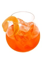 The Citrus Quo is an orange colored drink recipe made from gin, Limoncello, Luxardo Aperitivo liqueur and tonic water, and served over ice in a rocks glass garnished with orange peel.