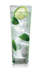 The Classic Light Mojito is made from rum, mint, lime, simple syrup and club soda, and served in a highball glass over ice.