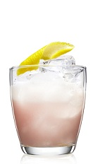 The Cran Sour is a zesty and sweet pink colored drink made from Malibu coconut rum, cranberry juice, lemon juice, simple syrup and egg white, and served over ice in a rocks glass.