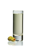 The Dirty Gold Shot is made from Stoli Gold vodka and olive juice, and served in a chilled shot glass.