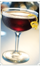 The Dolly Daydream cocktail is made from Chambord raspberry liqueur, Gentleman Jack, Guiness, bitters and Pernod, and served in a chilled cocktail glass.