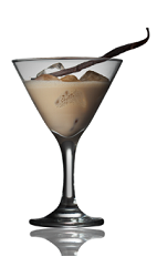 The Fiery Dusk is a brown colored cocktail made from Amarula cream liqueur, vanilla ice cream, chili powder and a vanilla pod, and served over ice in a cocktail glass.
