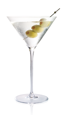The Filthy Dirty Martini is made from Stoli vodka and olive juice, and served in a chilled cocktail glass, garnished with olives.