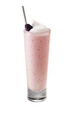 The Framboise Milkshake is made from Chambord flavored vodka, Chambord raspberry liqueur, vanilla ice cream, half & half, simple syrup and raspberries, and served in a collins or highball glass.