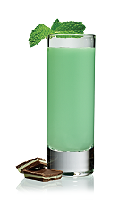 The Grasshopper Shot is a green shot made from Stoli vodka, green creme de menthe, white creme de cacao and light cream, and served in a chilled shot glass.