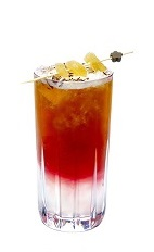 The Imperial Fiz is a red colored drink made from gin, triple sec, syrah wine, lemon juice, simple syrup, ginger, caraway seeds and ale, and served over ice in a highball glass.